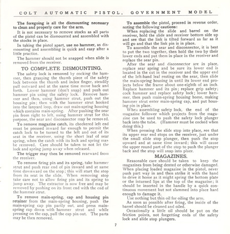 The Commercial Colt Caliber .45 Government Model Manual - Page 7