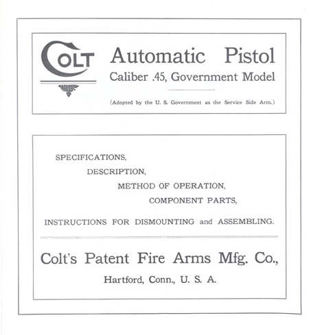 The Commercial Colt Caliber .45 Government Model Manual - Title Page