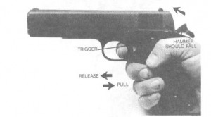 SLIDE GROUP IN FORWARD POSITION PRIOR TO TESTING HAMMER.  Figure 4. Disconnector test.
