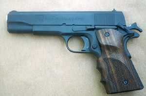 Author found the .38 Super pistol very pleasing. Note Caspian grips