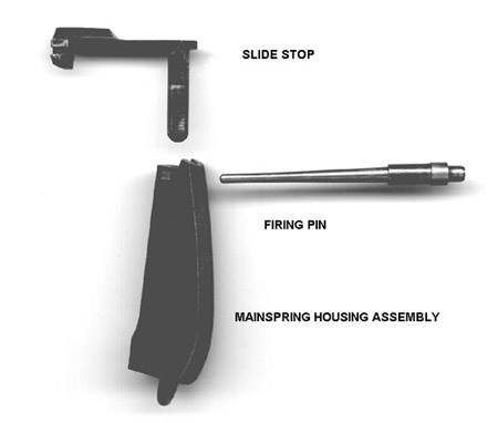 The mainspring housing assembly can be disassembled with these parts